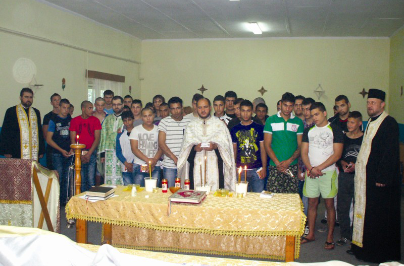 Taina Sfântului Maslu, în capela penitenciarului