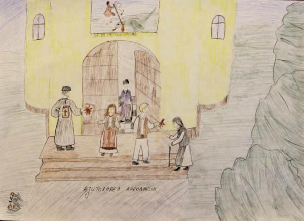 """Desen de Alexandra Racu - lucrare premiată cu locul al II-lea la etapa eparhială a Concursului naţional ,,Şcoala din pridvorul Bisericii"""""""