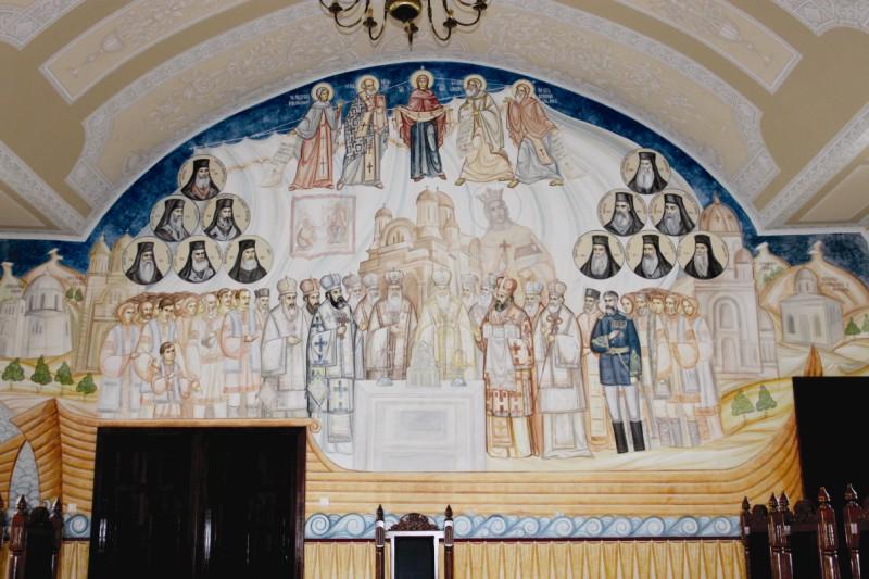 """,,Corabia Bisericii de la Dunărea de Jos""""- frescă din Aula Magna a Centrului pastoral, cultural şi social  ,,Sf. Ioan Casian"""" din incinta Centrului Eparhial Galaţi"""