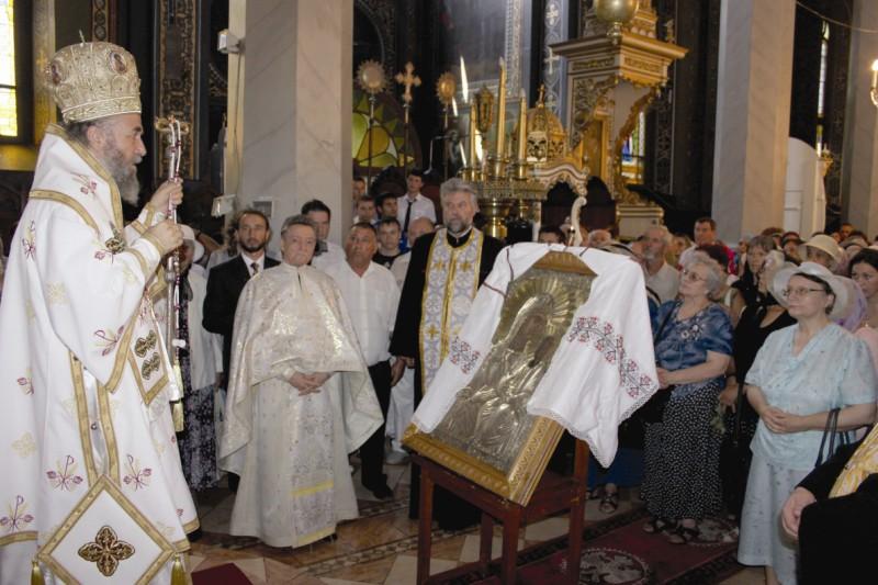 """Icoana Maicii Domnului, la hramul Bisericii ,,Schimbarea la Faţă"""" (Greacă) din Galaţi"""