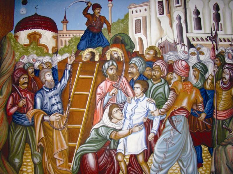 Martiriul Sfinţilor Brâncoveni - frescă de la Mănăstirea Brâncoveanu (Sâmbăta de Sus)
