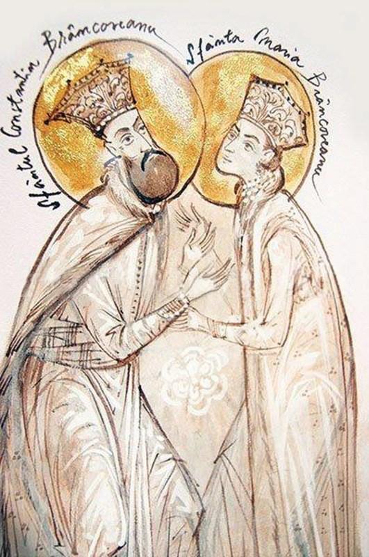 Sfinţii Constantin şi Maria Brâncoveanu (acuarelă de Elena Murariu)