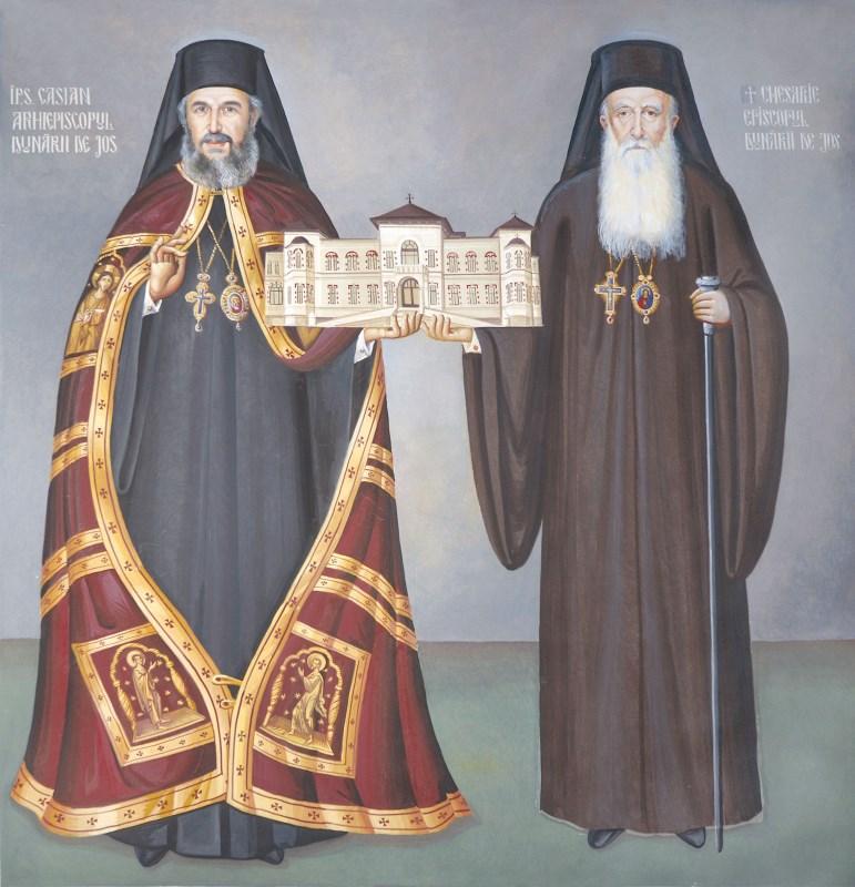 ÎPS Părinte Arhiepiscop Casian şi Episcopul Chesarie - frescă din capela Muzeului