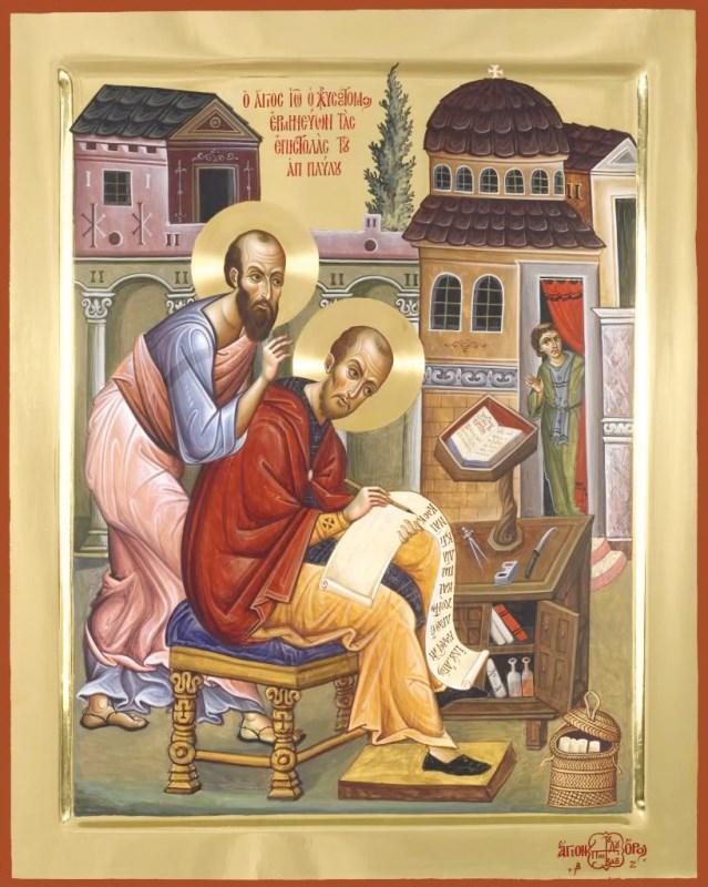 Sf. Ioan Gură de Aur tălmăcind epistolele Sf. Ap. Pavel