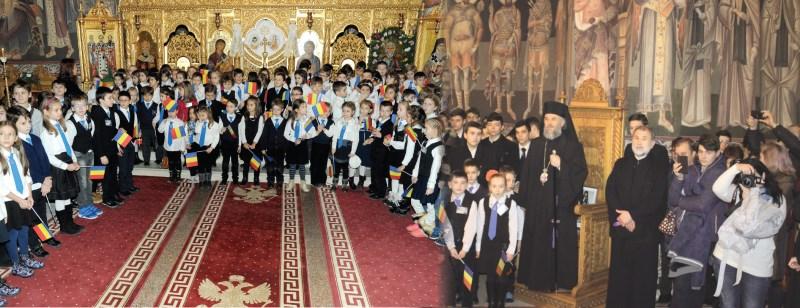Înaltpreasfințitul Părinte Casian în mijlocul preșcolarilor și școlarilor de la Seminarul Gălățean